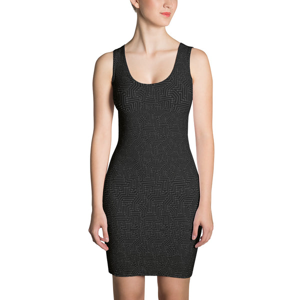 American Bogan Black With Texture Print Form Fitting Dress