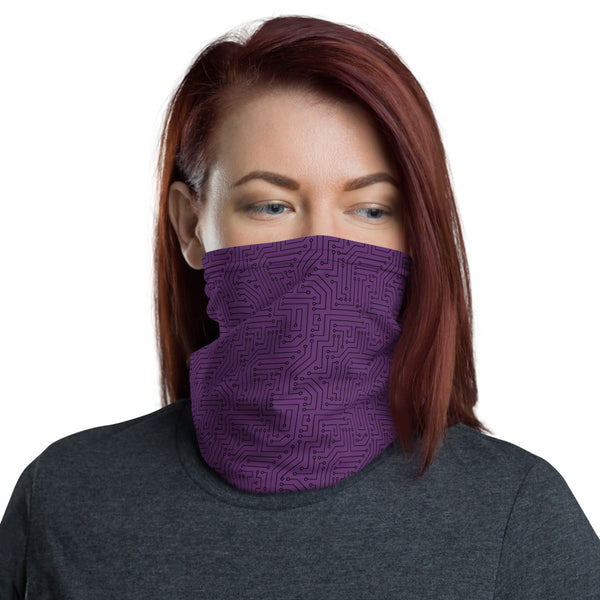Imperial Purple With Texture Print All Over Print Neck Gaiter