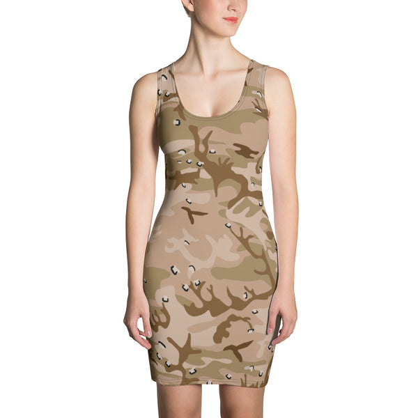 Desert Camouflage Pattern Form Fitting Dress