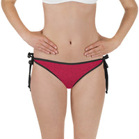 American Bogan Red With Texture Print Bikini Bottom with Adjustable Straps