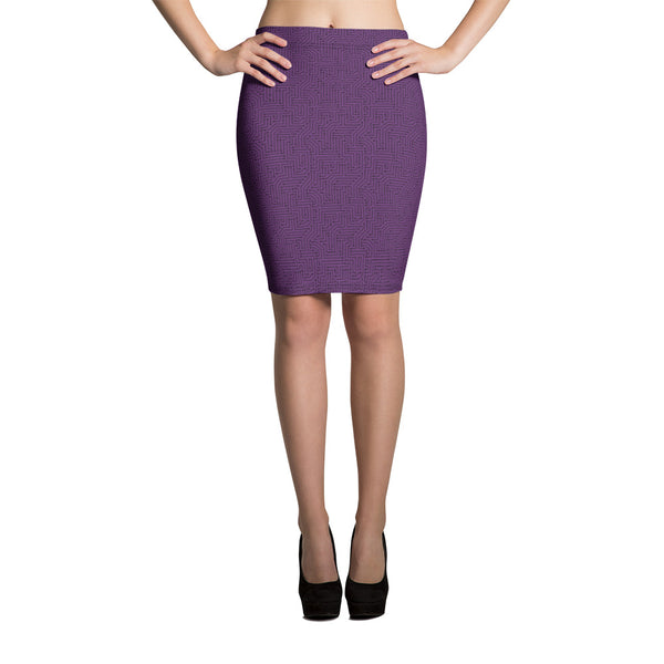 Imperial Purple With Texture Print Pencil Skirt