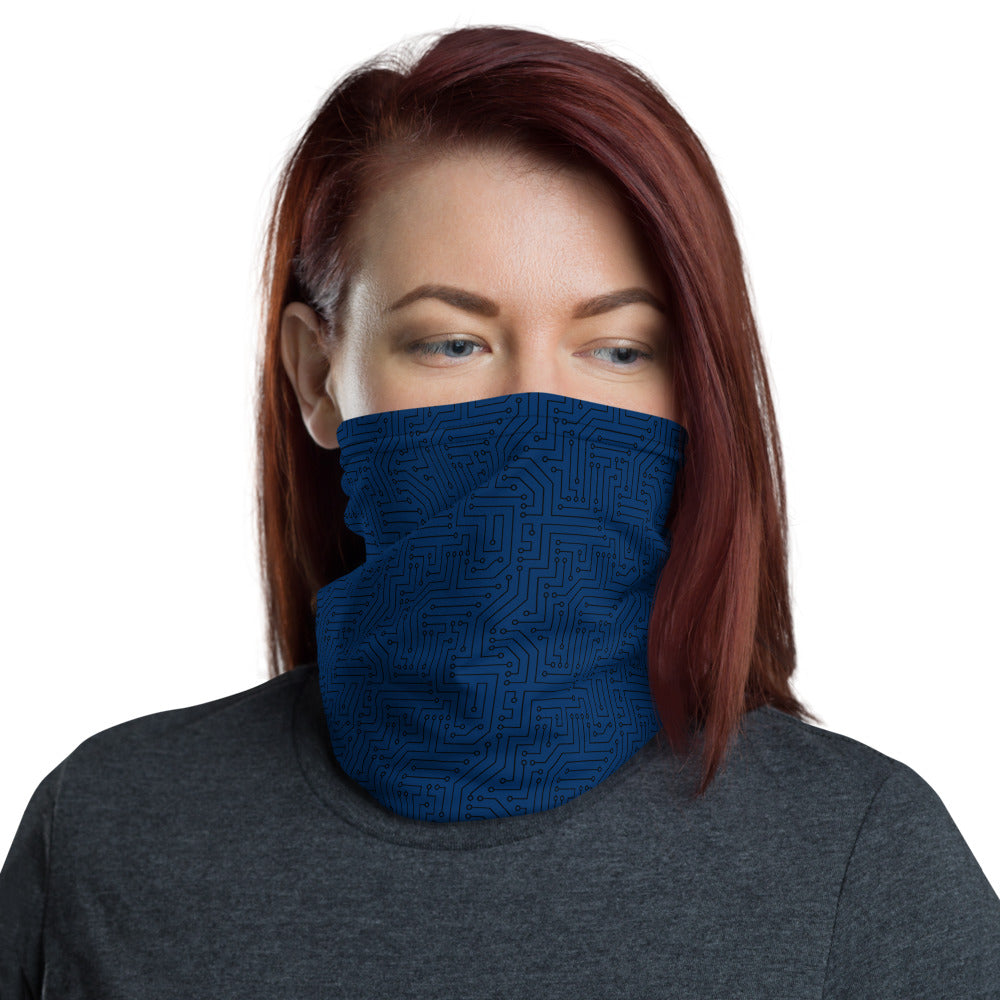 American Bogan Blue With Texture Print All Over Print Neck Gaiter