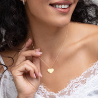 CUSTOMIZABLE - Heart Engraved Silver Heart Necklace