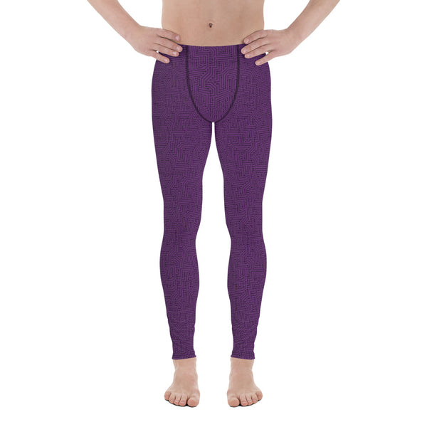 Imperial Purple With Texture Print Men's Leggings