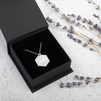 LOVED - Engraved Silver Hexagon Necklace