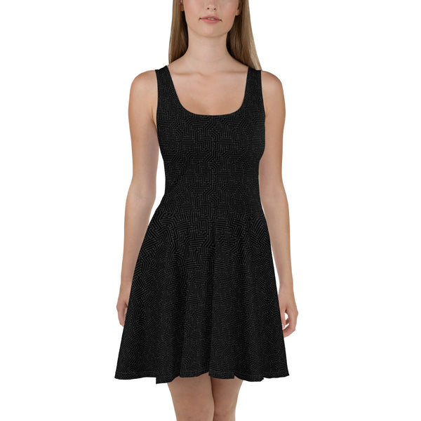 American Bogan Black With Texture Print Skater Dress