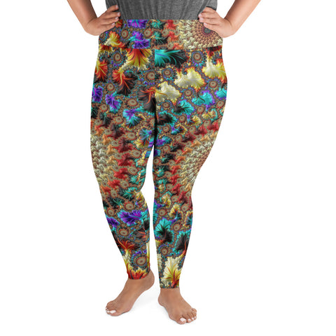 Falling Inward Fractal Art Plus Size Leggings
