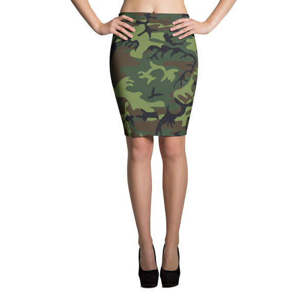 Woodland Camouflage Style Pattern Pencil Skirt