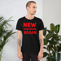 "white male bodied model with short hair wearing black tshirt with red letters ""new hampshire bogan"" copyright americanbogan.com"