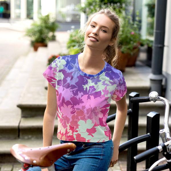 Flower Prism All-Over Print Crop Top T-shirt