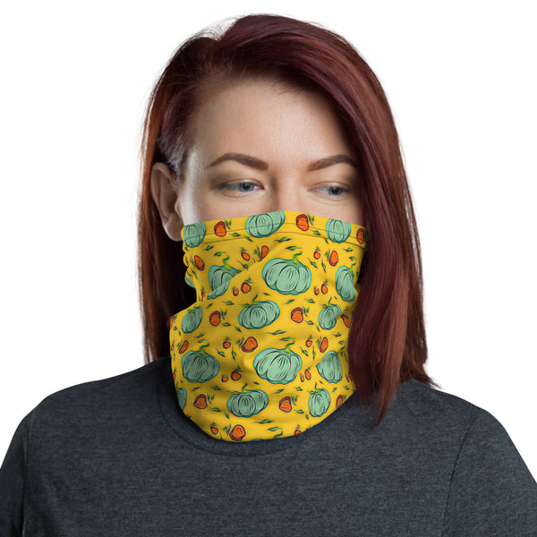 female model wearing yellow autum patterned neck gaiter over mouth and nose americanbogan.com