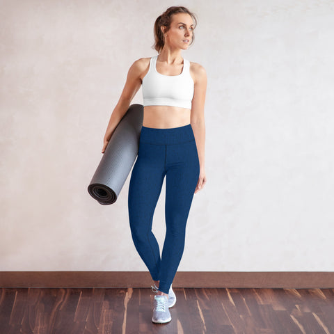 American Bogan Blue With Texture Print Yoga Leggings
