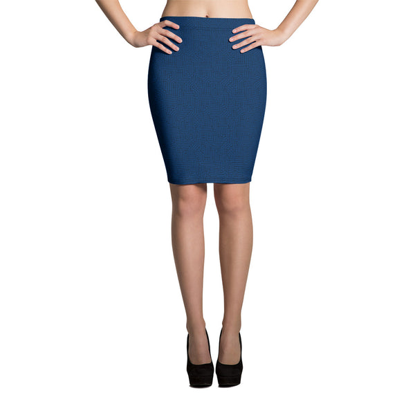 American Bogan Blue With Texture Print Pencil Skirt