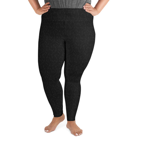 American Bogan Black With Texture Print Plus Size Leggings