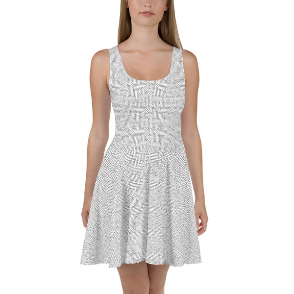 American Bogan White With Texture Print Skater Dress