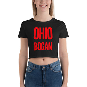 "white female bodied model with long hair wearing black crop top tshirt with red letters ""ohio bogan"" copyright americanbogan.com"
