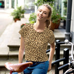 Leopard Print Camouflage Pattern All-Over Print Crop Top T-shirt