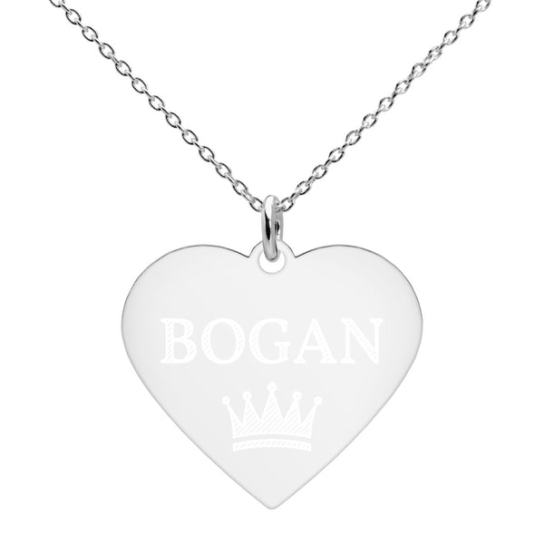 BOGAN - Crown Engraved Silver Heart Necklace