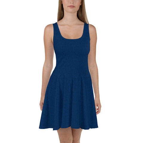 American Bogan Blue With Texture Print Skater Dress