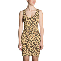 Leopard Print Camouflage Pattern Form Fitting Dress