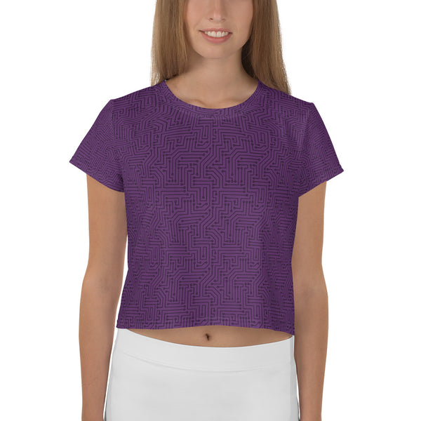Imperial Purple With Texture Pattern All-Over Print Crop Top T-shirt