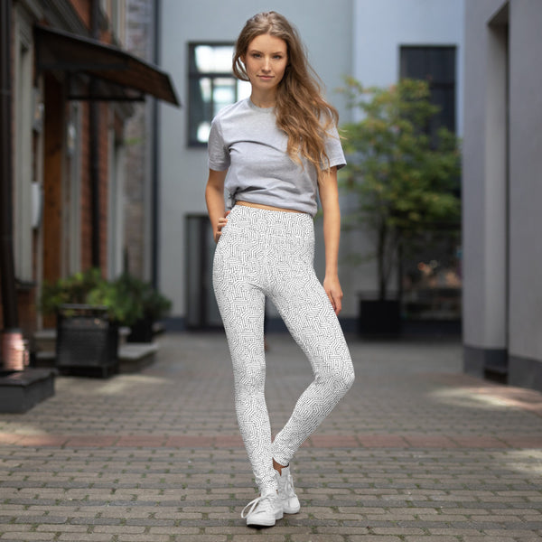 American Bogan White With Texture Print Yoga Leggings