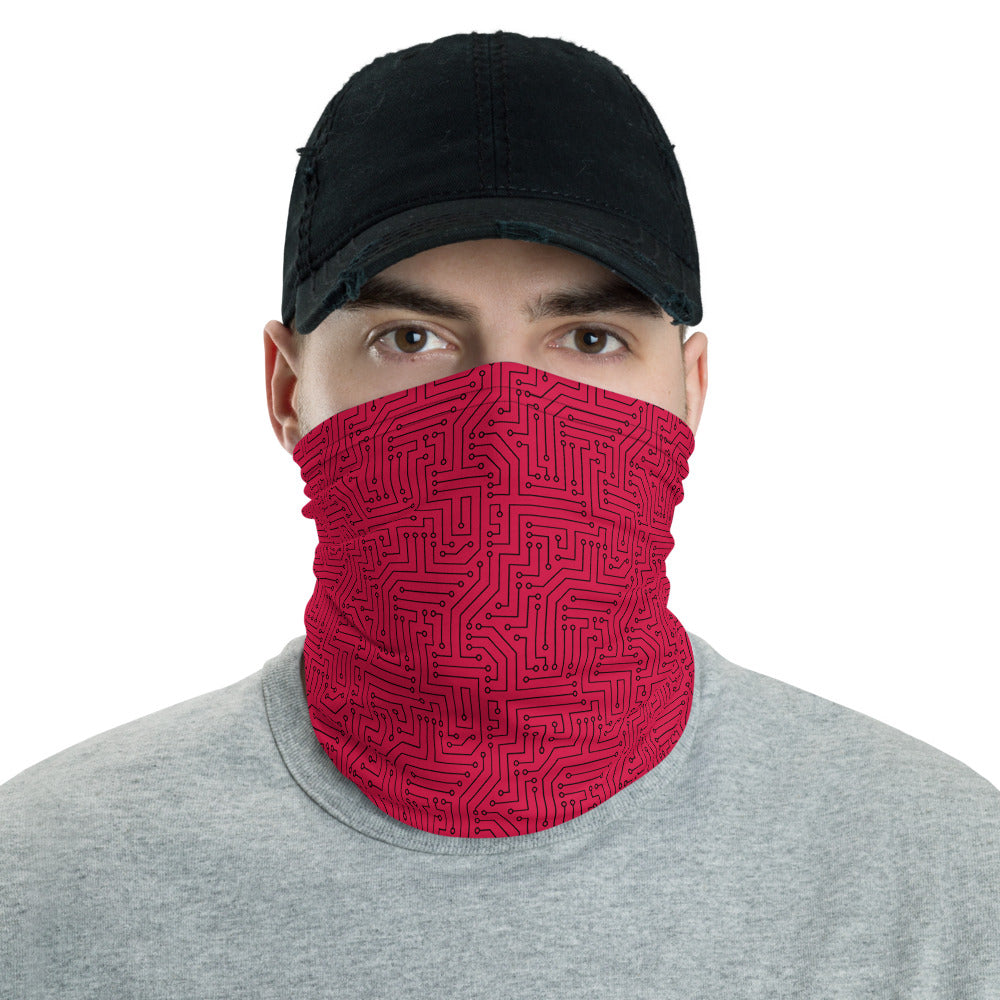 American Bogan Red With Texture Print All Over Print Neck Gaiter