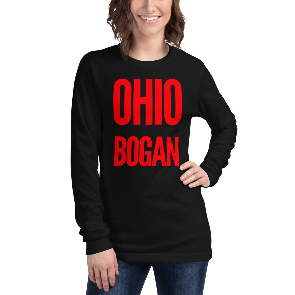 "white female bodied model with shoulder length hair wearing black crop top tshirt with red letters ""ohio bogan"" copyright americanbogan.com"