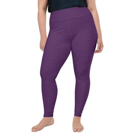 Imperial Purple With Texture Print Plus Size Leggings