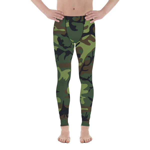 Woodland Camouflage Style Pattern Men's Leggings