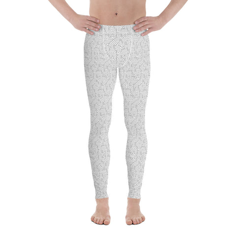 American Bogan White With Texture Print Men's Leggings