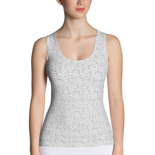 American Bogan White With Texture Pattern All Over Print Women's Tank Top