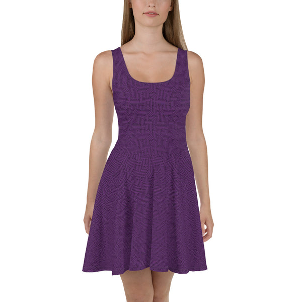 Imperial Purple With Texture Print Skater Dress