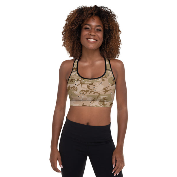 Desert Camouflage Pattern Sports Bra With Thin Removable Inserts