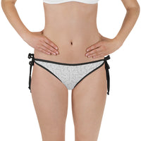 American Bogan White With Texture Print Bikini Bottom with Adjustable Straps