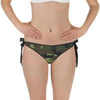 Woodland Camouflage Style Pattern Bikini Bottom with Adjustable Straps