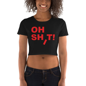 "black female bodied model wearing black crop top short sleeve tshirt with red letters ""oh shit!"" americanbogan.com"