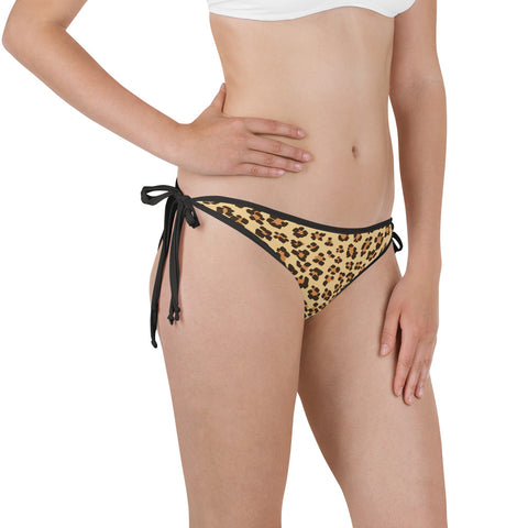 Leopard Print Camouflage Pattern Bikini Bottom with Adjustable Straps