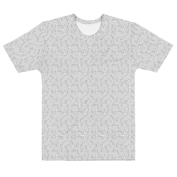 American Bogan White With Textured Pattern All Over Print Crew Cut Short-Sleeve Men's T-shirt
