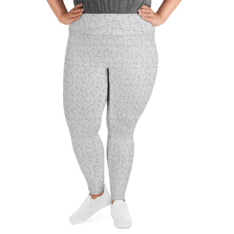 American Bogan White With Texture Print Plus Size Leggings