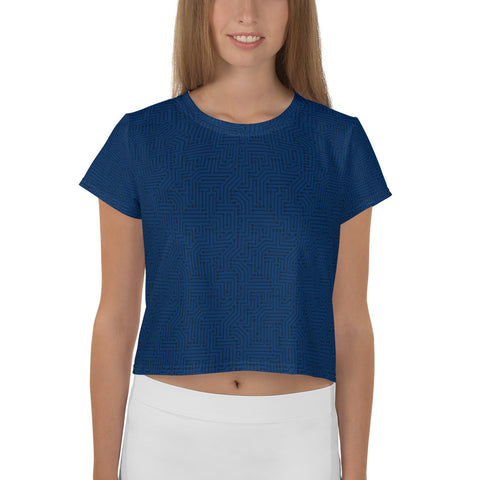 American Bogan Blue With Textured Pattern All-Over Print Crop Top T-shirt