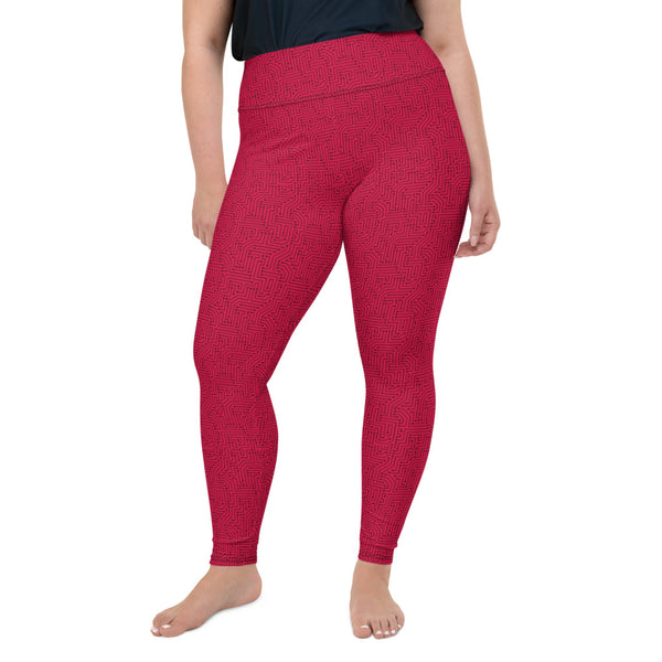 American Bogan Red With Texture Print Plus Size Leggings