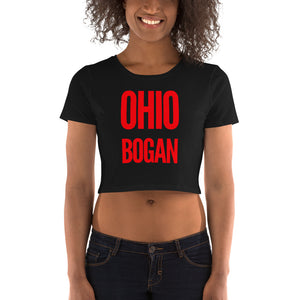 "black female bodied model with curly hair wearing black crop top tshirt with red letters ""ohio bogan"" copyright americanbogan.com"