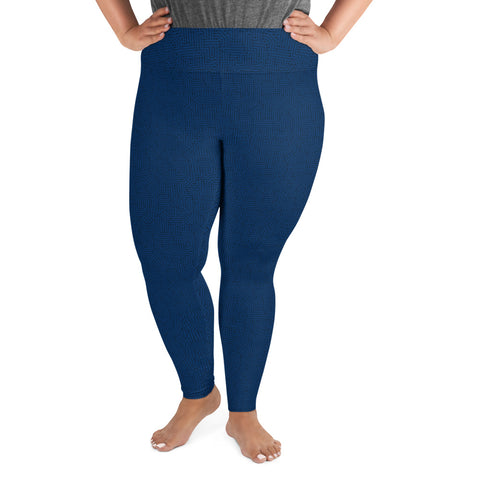American Bogan Blue With Texture Print Plus Size Leggings