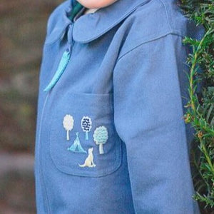 Little Adventure Suit Co. Blue Dog. Organic Cotton Kids Boilersuit. Embroidered with dog, tent and tree.