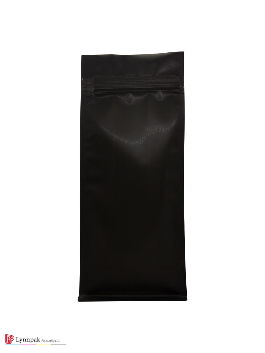 2 lb Block Bottom Bag with Pocket Zipper - Matte Black