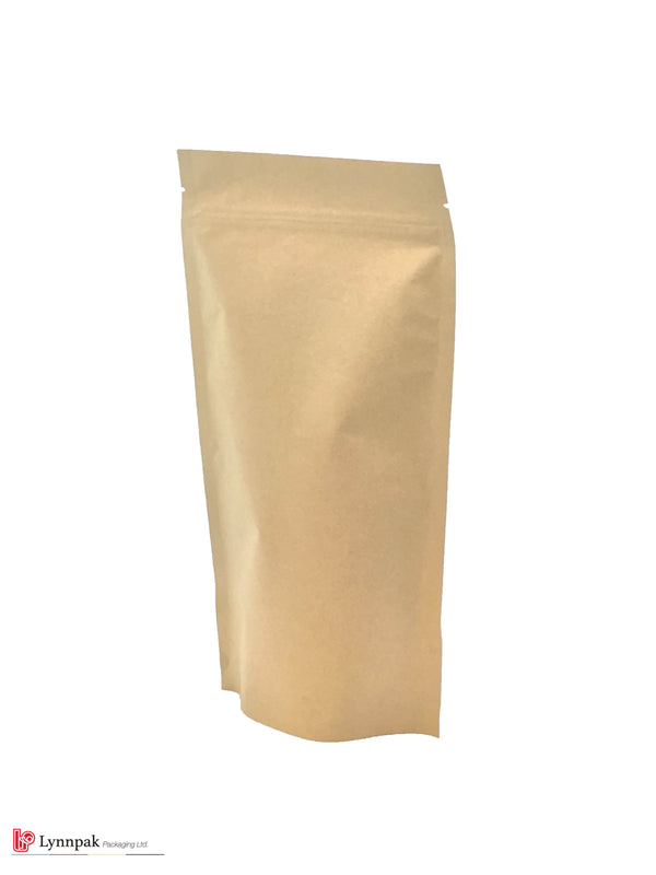1 lb Stand Up Pouch with Zipper - Natural Kraft - 1000 Pcs/Box