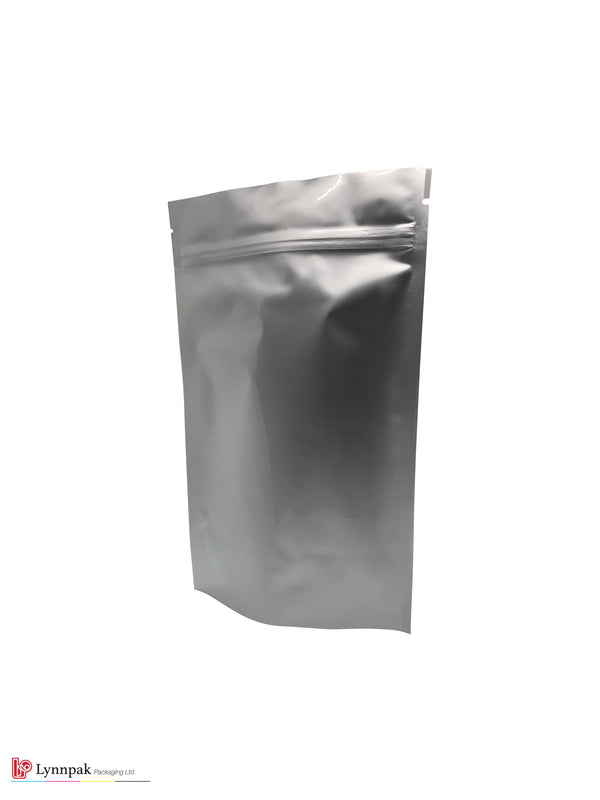 1 lb+ Stand Up Pouch with Zipper - Silver