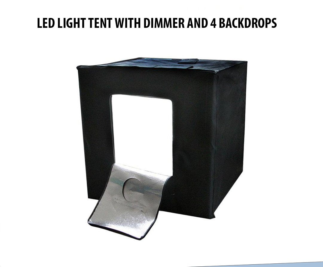 24''x24''x24'' Portable LED Photo lighting Studio Shooting Tent Kit, All In One LED Lighting Cube/Table Top LED Light Kit with Dimmer with 4 Backdrops White/Black/Yellow/Blue, Diffusing Cloth, Carrying bag