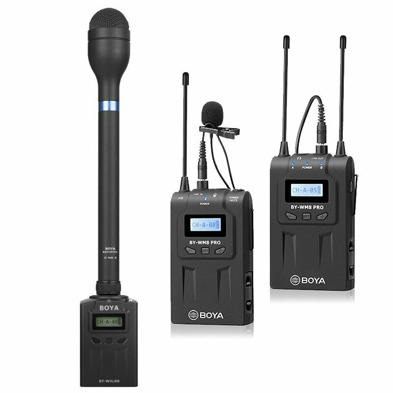 3 in 1 BOYA WM8 Pro-K1+BY-WXLR8+BY-HM100 Kit Interviews Wireless Microphone